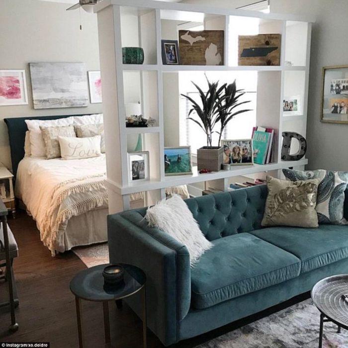 green velvet sofa, white bookshelf divider, living room furniture for small spaces, small metal coffee tables
