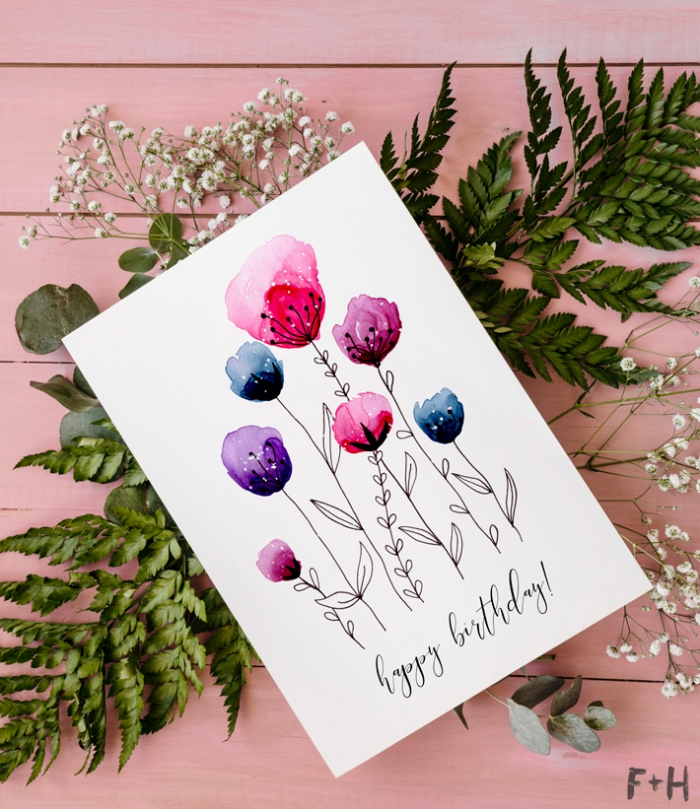 diy birthday cards, watercolour flowers, painted on a white card stock, greenery, on a pink background