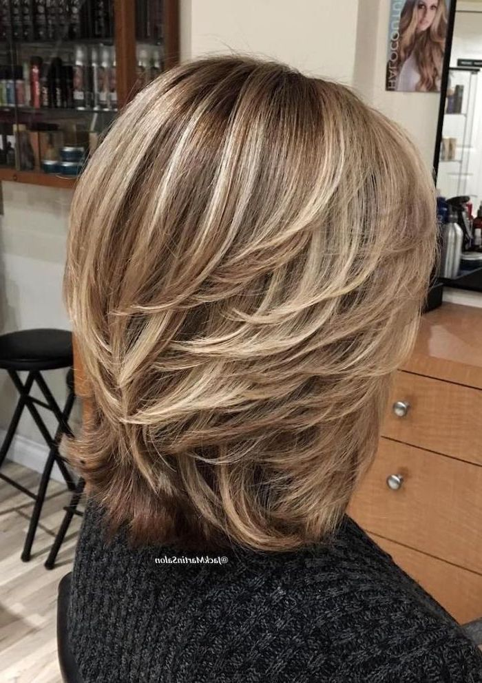 blonde hair, with highlights, easy hairstyles for short hair, black sweater, black stools