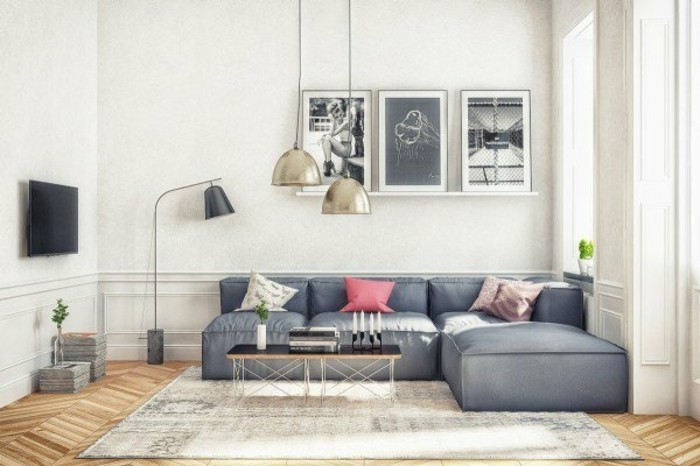 gray and white living room, grey corner sofa, wooden floor, black wooden coffee table