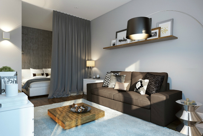 living room furniture layout, grey curtains, grey leather sofa, white carpet, small wooden coffee table