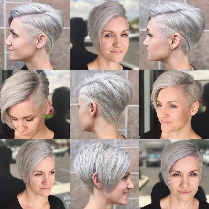 grey hair, pixie cut, side by side photos, easy hairstyles for short hair, black top