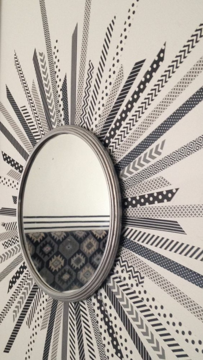 round mirror, grey frame, larger frame, made out of washi tape, wall art ideas for living room