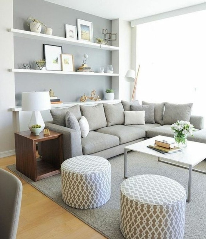 grey ottoman, hanging shelves, grey color schemes, grey corner sofa, white coffee table