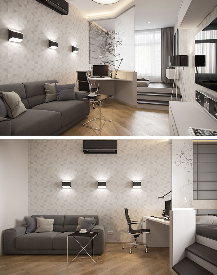 grey sofa, wooden floor, glass divider, living room furniture layout, patterned accent wall