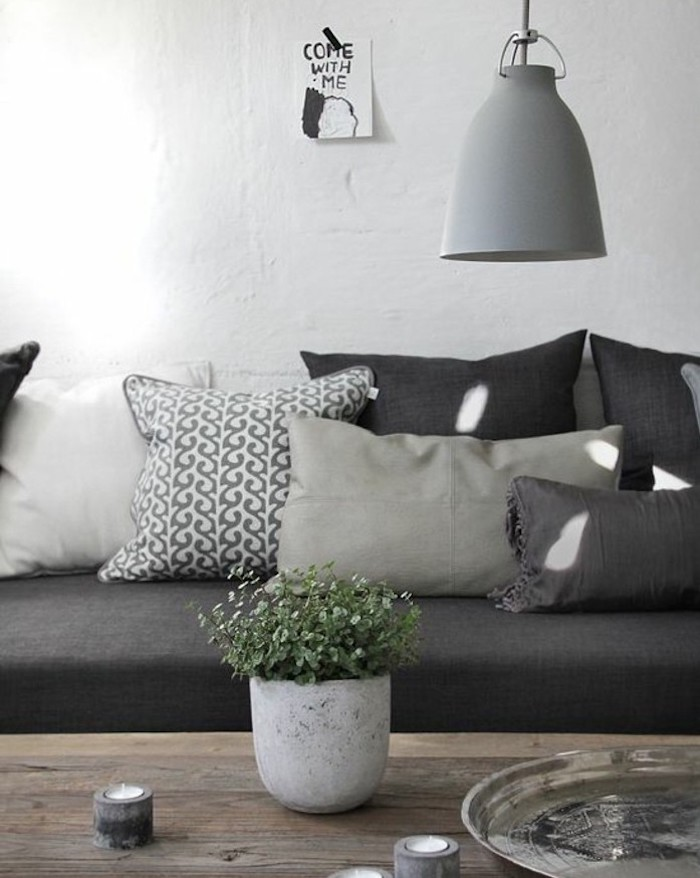 ceramic potted plant, wooden table, grey sofa, shades of grey throw pillows, accent colors for gray