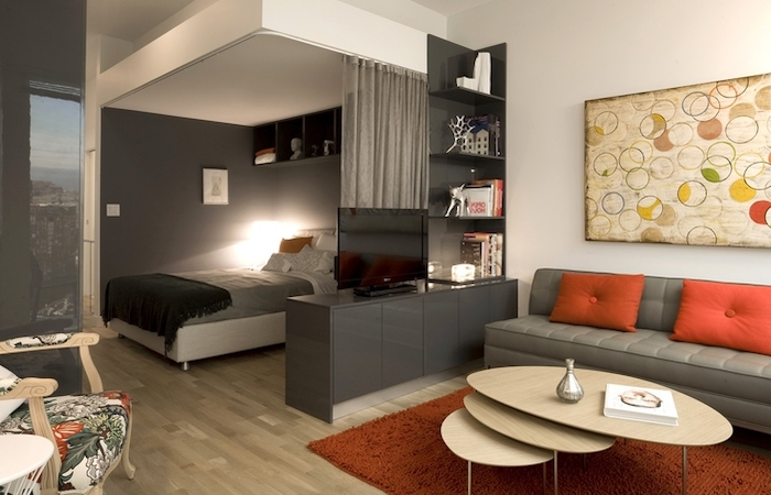 grey sofa, orange carpet, throw pillows, small room decor, grey curtains, black bookshelf divider, wooden floor