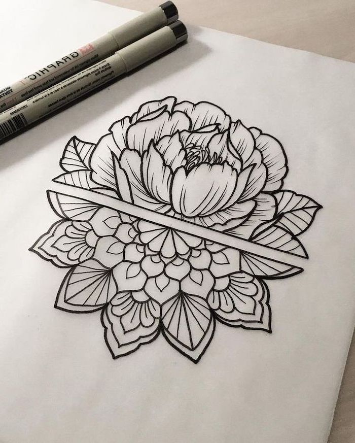 half rose, mandala tattoo design, black and white drawing, white backgorund