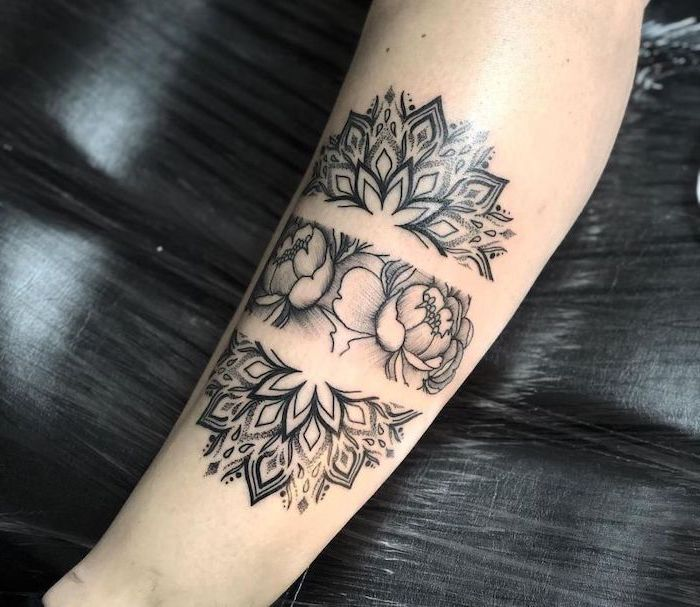 black background, leg tattoo, mandala tattoo design