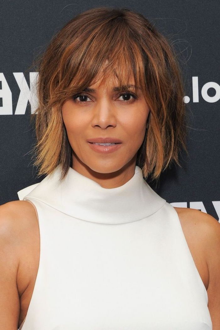 halle berry, white dress, pictures of short haircuts, brown hair