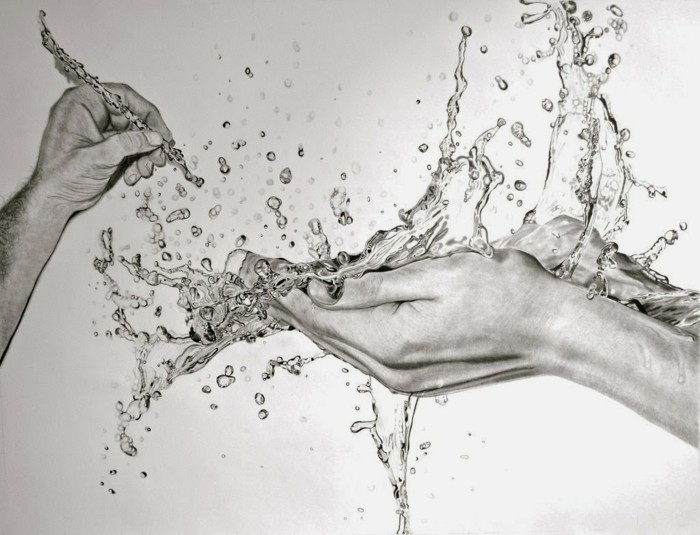 hands holding water, 3d art, pencil sketch, how to draw lips, black and white