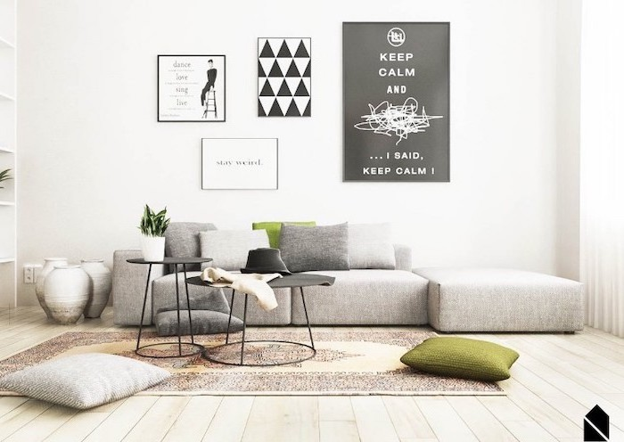 grey corner sofa, wooden floor, small room decor, white walls, small metal black, coffee tables