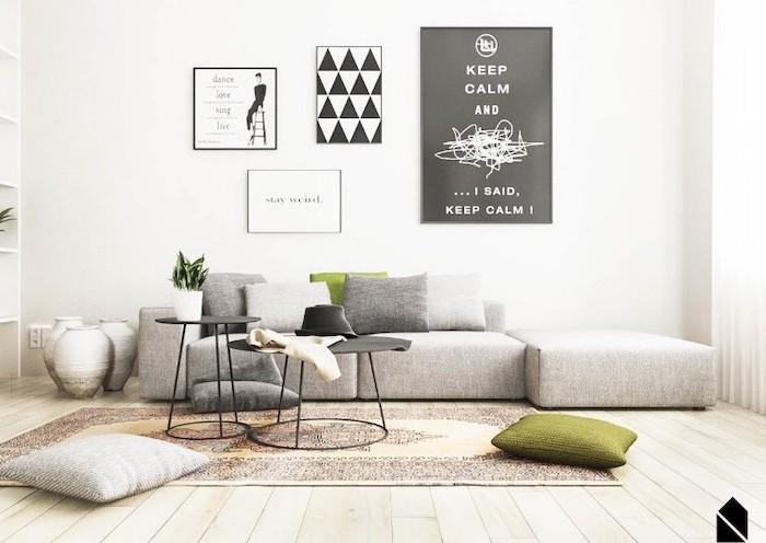 grey corner sofa, wooden floor, small room decor, white walls, small metal black, coffee tables