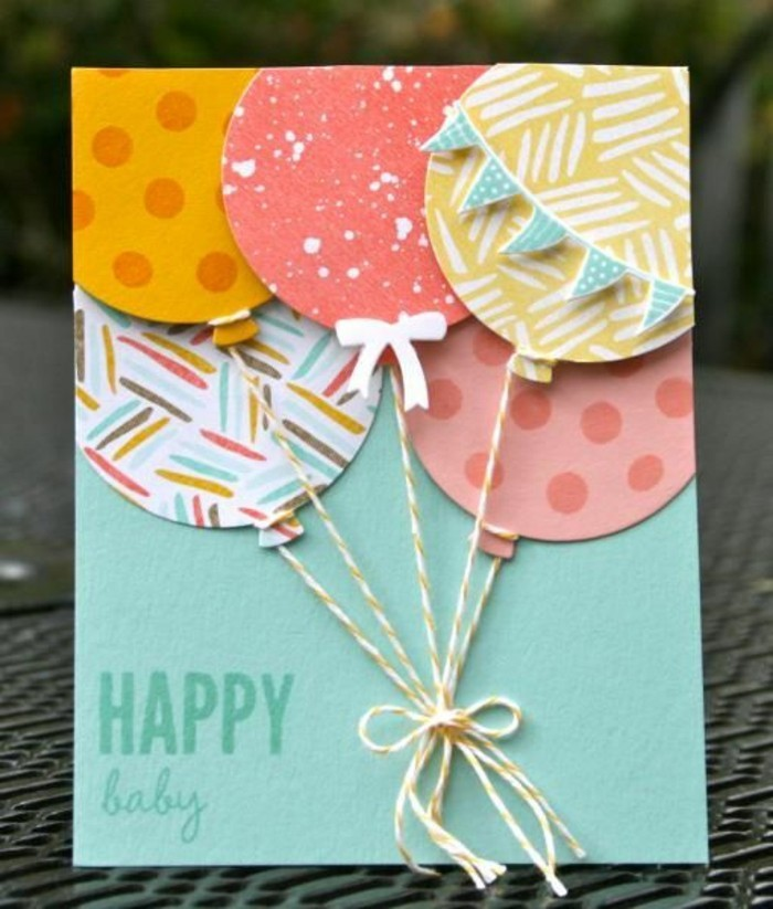 happy baby, colourful patterned balloons, birthday card ideas for mom, turquoise card stock
