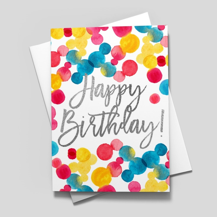 colourful dots, drawn on white card stock, funny happy birthday cards, white envelope