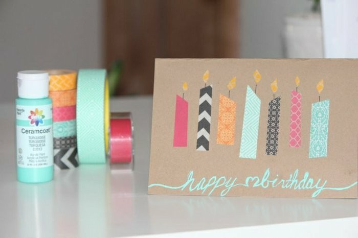 colourful candles, made out of washi tape, birthday card ideas for mom, white table, turquoise paint
