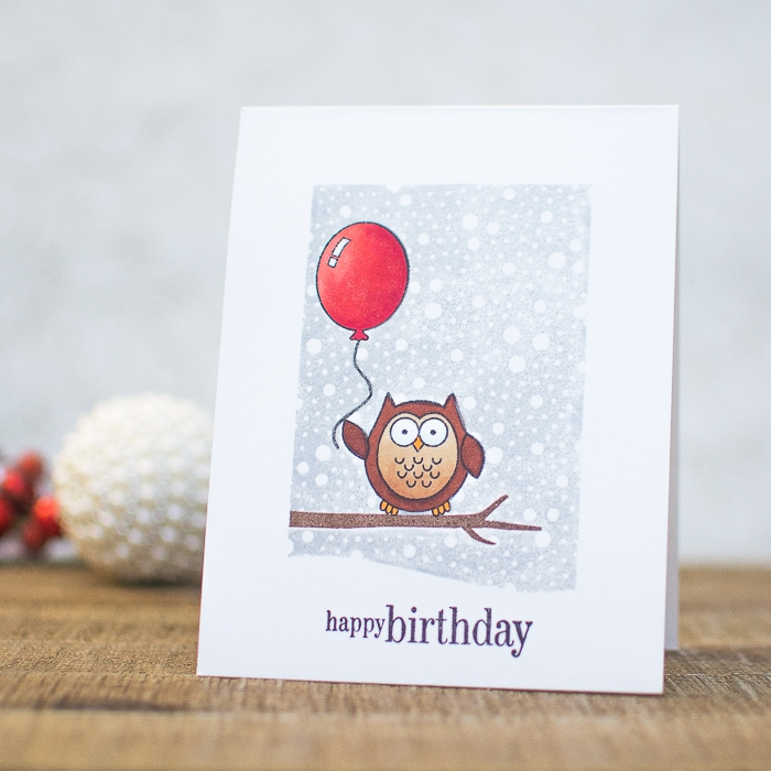 white card stock, owl on a tree branch, holding a red balloon, birthday cards for kids