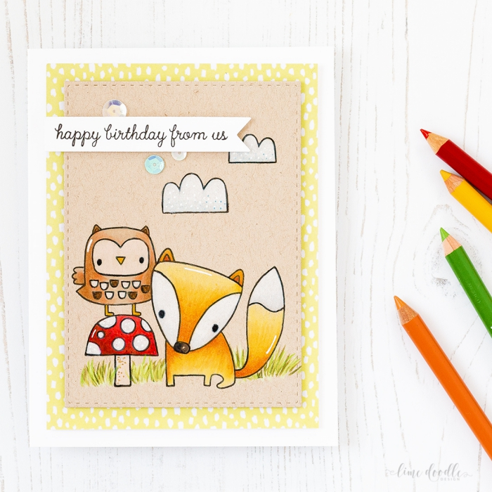 happy birthday from us, greeting card, handmade cards, owl standing on a mushroom and a fox