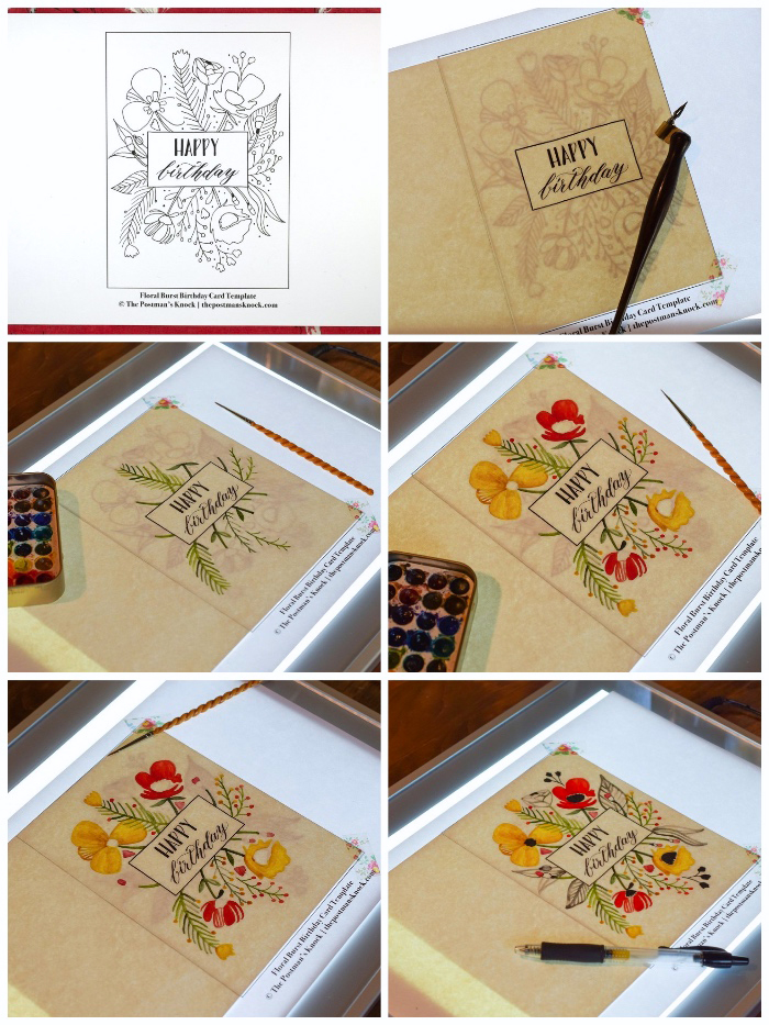 step by step, diy tutorial, birthday greeting cards, floral print out, coloured with paint
