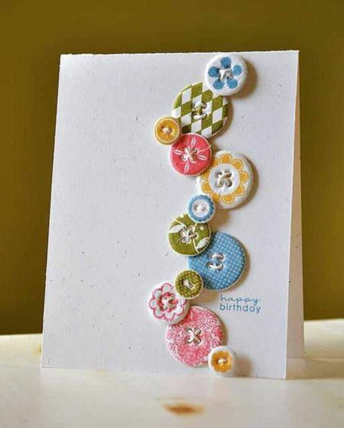 colourful patterned buttons, glued to white card stock, birthday card ideas for mom