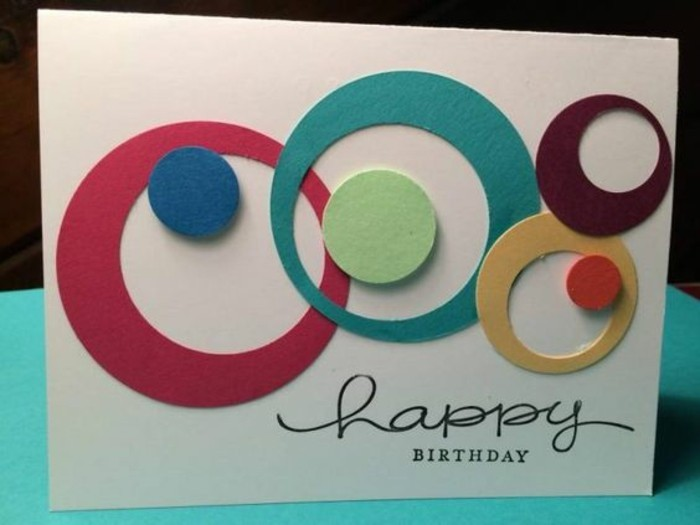 colourful circles, on white card stock, happy birthday inscription, birthday cards for boys