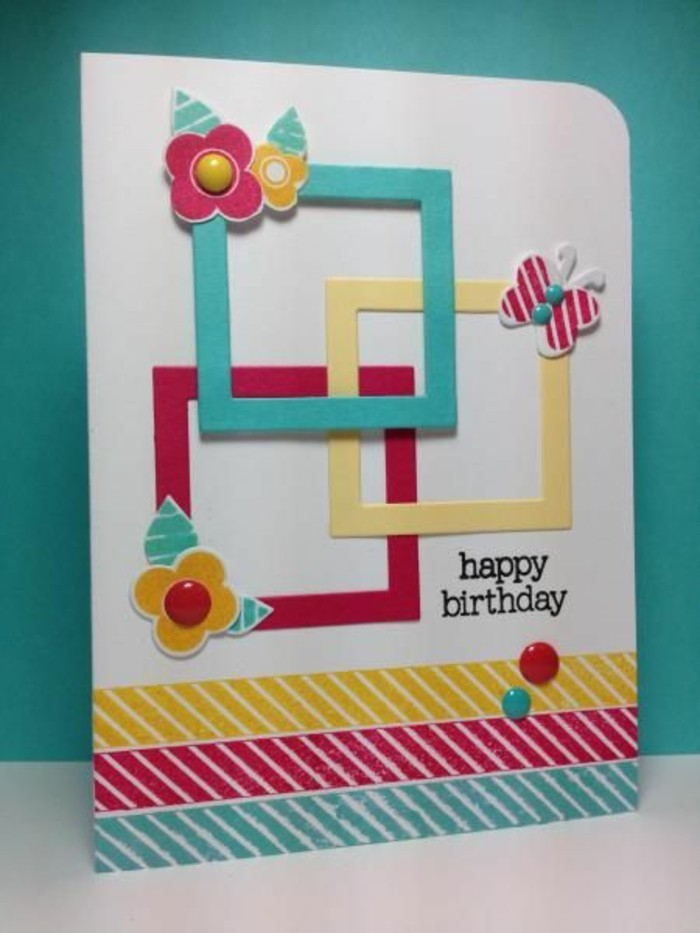 birthday cards for boys, blue background, colourful squares, butterflies and flowers