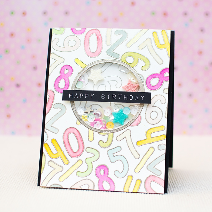 white card stock, numbers drawn on it, sequins inside, birthday cards for best friend, pink background