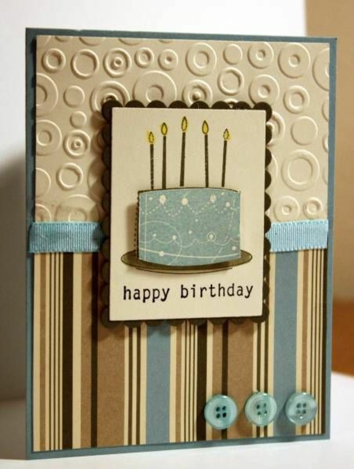 brown and blue card stock, birthday cards for boys, blue ribbon, cake with candles, blue buttons