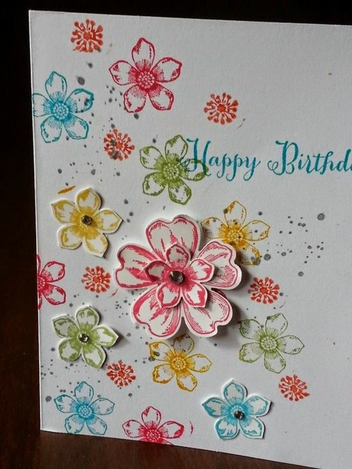 colourful paper flowers, on white card stock, birthday cards for boys