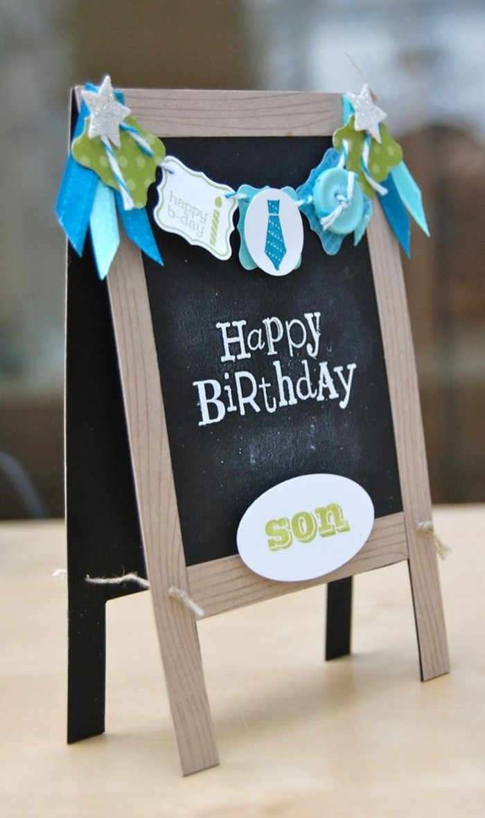 chalk board shaped, greeting card, colourful garland, birthday cards for boys