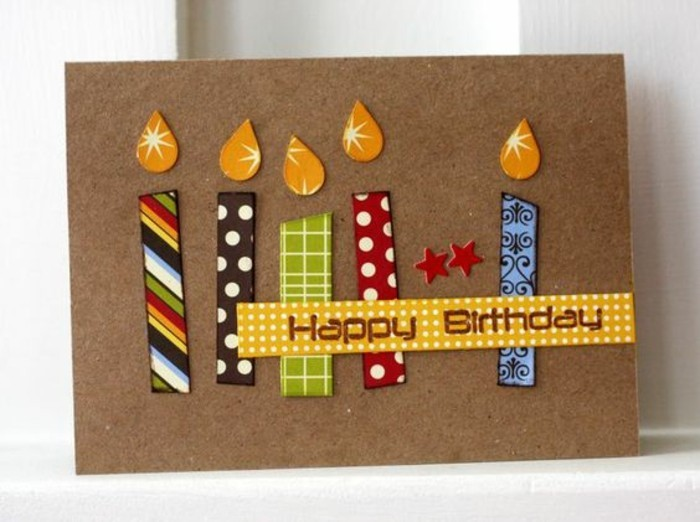colourful candles, made out of washi tape, cool birthday cards, white background