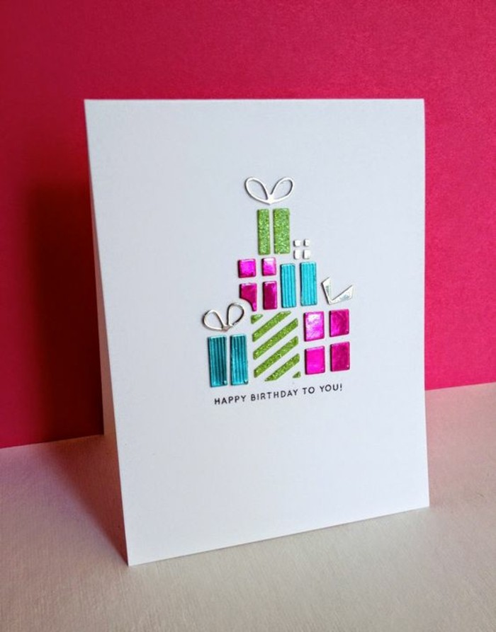 pink background, colourful gifts, on white card stock, cool birthday cards, happy birthday to you