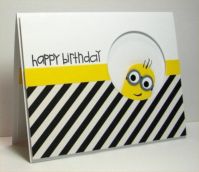 black and white stripes, minion inspired, greeting card, cool birthday cards, white card stock, yellow minion