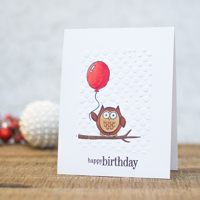 owl sitting on a tree branch, holding a red balloon, birthday cards for kids, white card stock