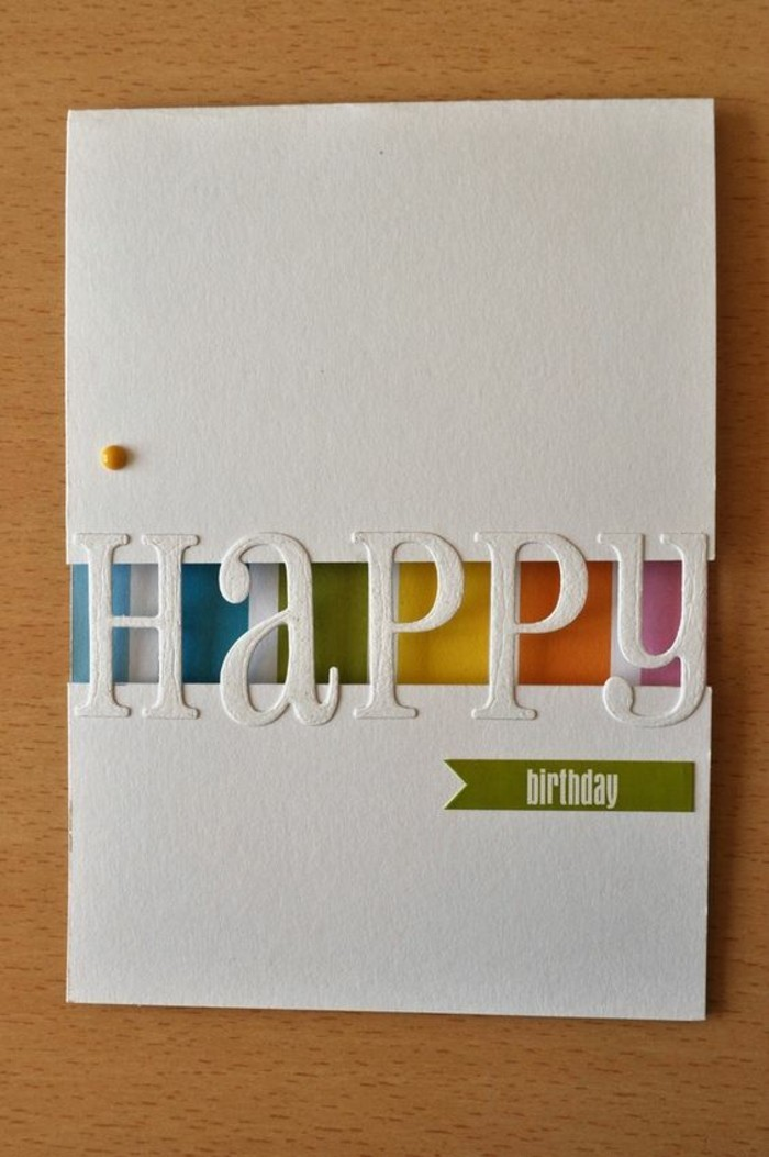 white card stock, rainbow coloured lines, happy birthday card ideas, wooden table