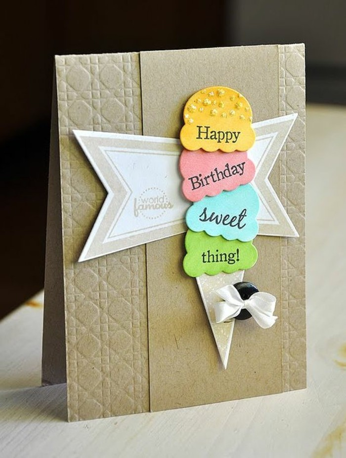 happy birthday sweet thing, ice cream cone, black button, white bow, happy birthday card ideas
