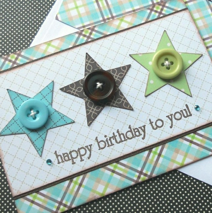 blue brown and green buttons, happy birthday card ideas, patterned stars, patterned card stock