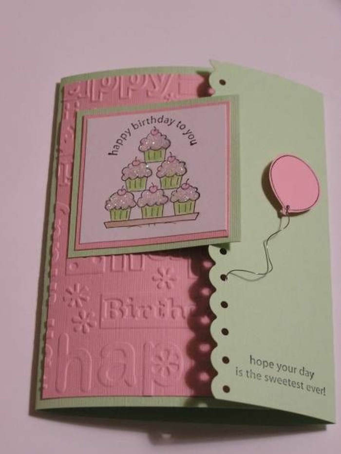 pink and green card stock, funny birthday cards for friends, stacks of cupcakes, pink balloon