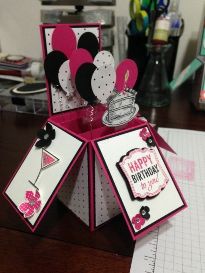 pink white and black card stock, funny birthday cards for friends, colourful balloons, coming out of a box