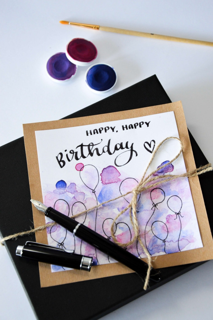 watercolour greeting card, black envelope, funny birthday cards for friends, black balloons