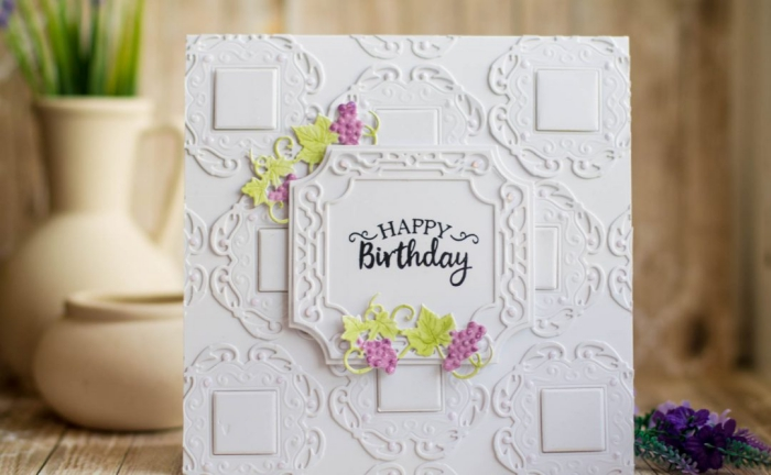 white card stock, happy birthday inscription, purple grape vines around it, homemade cards