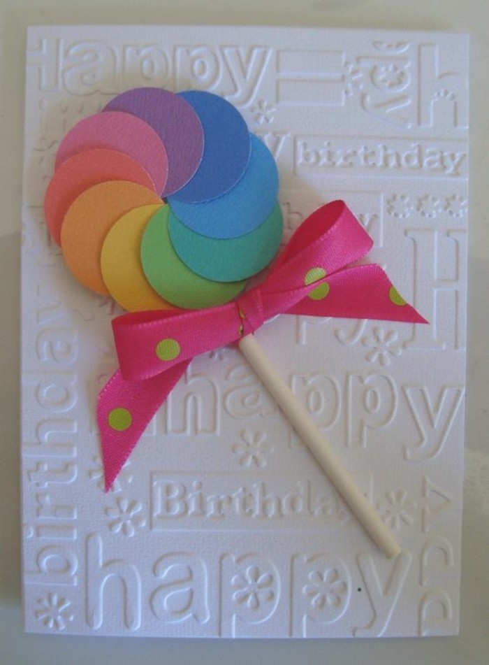 colourful lollipop, pink ribbon, with green dots, funny birthday cards for friends, white card stock