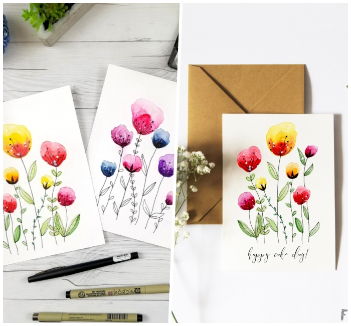 greeting cards, watercolour flowers, diy birthday cards, white card stock, white wooden table
