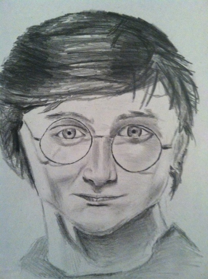 step by step drawing, harry potter portrait, in black and white, pencil sketch