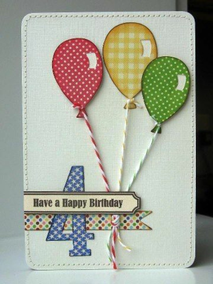 red yellow and green balloons, fourth birthday, funny birthday cards for friends, white card stock