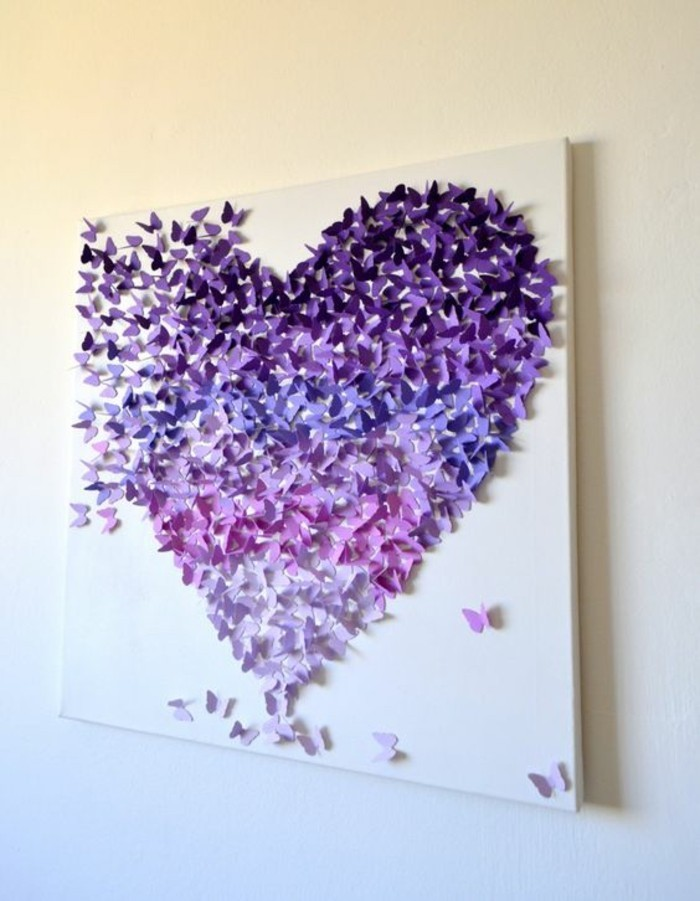 large white canvas, wall art ideas for living room, shades of purple butterflies, forming a large heart
