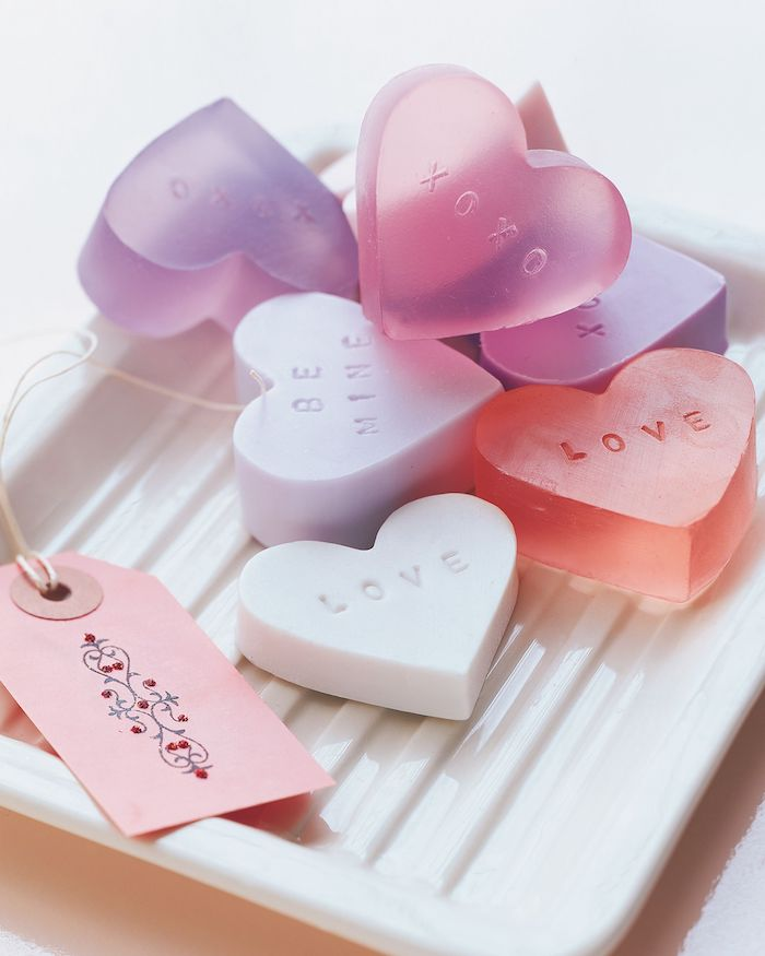 heart shaped soap, conversational hearts, in a white tray, diy christmas gifts for mom