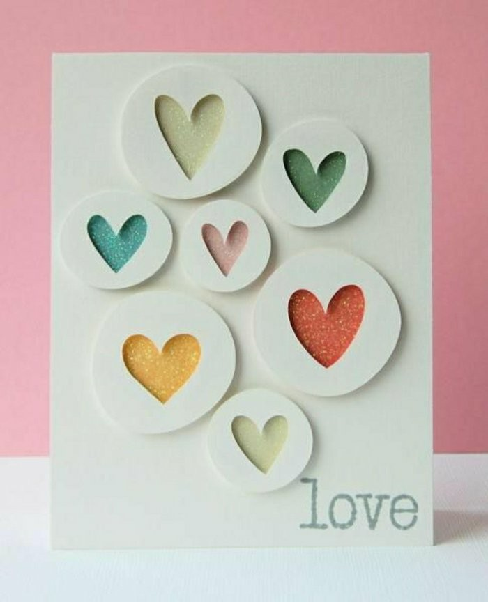 best birthday cards, colourful hearts, inside circles, on white card stock, love inscription, pink background