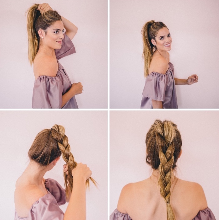 easy hairstyles for girls, girl wearing a purple satin top, high braid ponytail, brown hair, blonde ombre