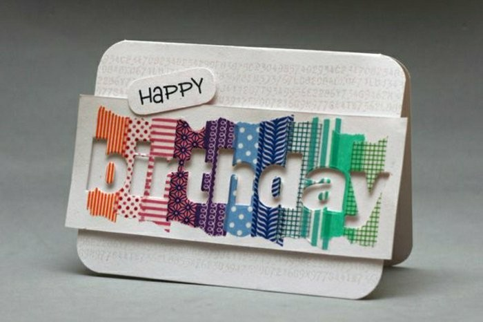 colourful washi tape, white card stock, best birthday cards, white background